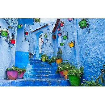 Mural de pared Chefchaouen en Marruecos