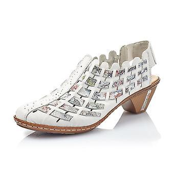 Rieker 46778-80 Valentine Casual Low Heel Slingback Schuh In weiß