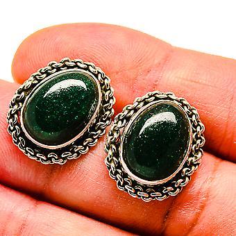 """Green Aventurine Earrings 3/4"""" (925 Sterling Silver)  - Handmade Boho Vintage Jewelry EARR408103"""