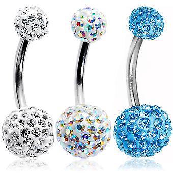 """Kristalli vatsarengas 3-pakkaus 14ga-3/8""""(10 mm) 316l kirurginen teräs bj10156"""