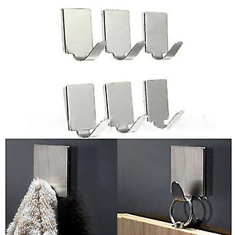 Stainless Steel Family Robe Hanging Hooks Hats Bag Key Adhesive Wall Hanger