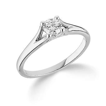9K White Gold Split Shoulder 4 Claw Setting 0.35Ct Certified Solitaire Diamond Engagement Ring