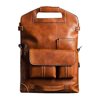Genuine Leather Multifunction Men Solid Computer Laptop Bag