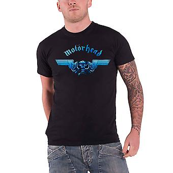 Motorhead T Shirt Tri Skull War Pig Blue Band Logo Official Mens Black