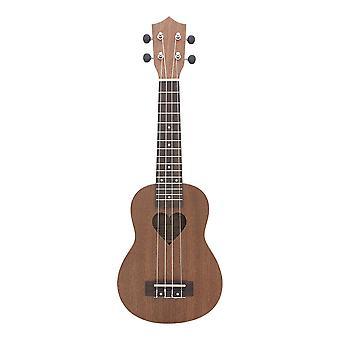 21inch Ukelele Sapele Ukulele 4 String Guitar Mini Guitar Heart Shape Sound Hole