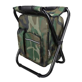 Camouflage 36x29x41cm Compact Multi-function Backpack Picnic Ice Pack Stool