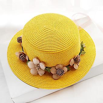 Summer Sun Hat/bucket Cap Beige Lace Bowknot Flowers Ribbon Flat Top Straw Hat