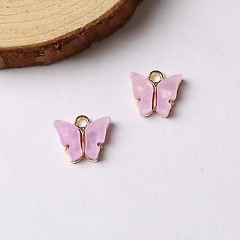Trendy Alloy Butterfly Setting Acrylic Charms, Lovely Animal Pendant, Handmade
