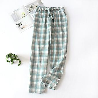 Men's Baumwolle Gaze Sleep Bottoms plaid gestrickte Pyjama Hose lose Sleepwear