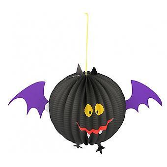 Lampion Vleermuis Halloween 36,5X17X22,5 Cm Papier Zwart