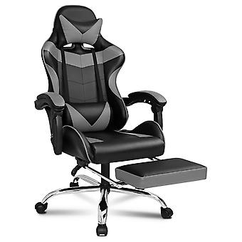 ELFORDSON Gaming Chair Office Executive Racing Footrest Seat PU Leather Grey
