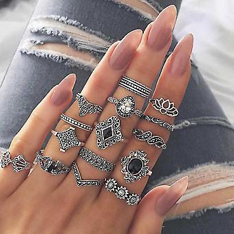 Midi Knuckle Ring Set, Crystal, Elephant Crown, Crescent Geometrische Vinger