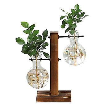 Hydroponic Plant Vases Vintage Flower Pot - Transparent Wooden Frame Glass