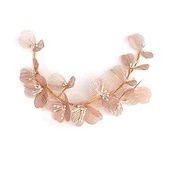 Gold Silk Petal Headband Bride Wedding Headdress Pearl Handmade Headband Dress