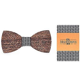 Gravata borboleta masculina de madeira, abotoaduras de lenço gravatars laços casamento