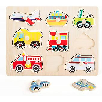 Small Foot.   Wooden Peg Puzzle.  Vehicles.