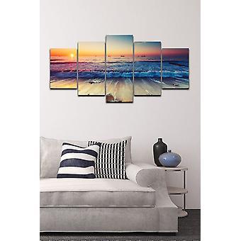 Panel de pared multicolor en poliéster, madera, L20xP2xA30 cm (2 piezas), L20xP2xA40 cm (2 piezas), L20xP2xA50 cm (1 uds)