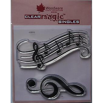 Woodware Clear Singles -musiikkimuistiinpanot 4 x 4:ssä leimassa