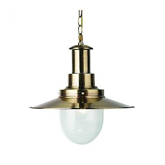Lámpara Colgante Pescatore De 40 Cm, En Latón Antiguo Y Vidrio