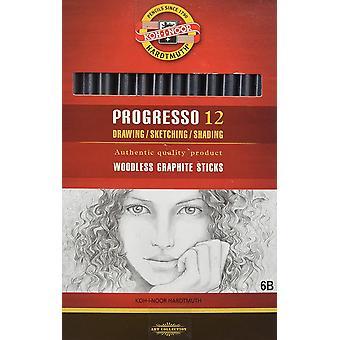 Koh-I-Noor Progresso 12 Woodless Graphite Pencil Set 6B