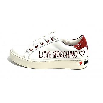 Women's Shoe Love Moschino Sneaker Leather Nappa White/ Red D20mo05