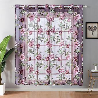 Topfinel Purple Floral Tulle In Sheer Curtains For Living Room The Bedroom