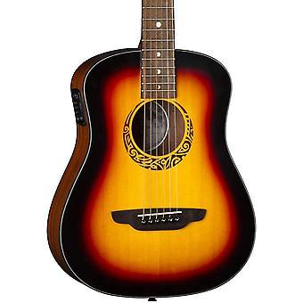 Luna kitarat safari tribal 6 jousi akustinen / sähkökitara, oikea, tupakan auringonpurkaus satiini
