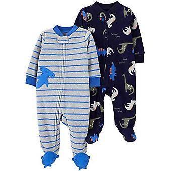 Simple Joys by Carter's Baby Boys' 2-Pack Fleece Footed Sleep and Play, Tiger/Dog, Newborn