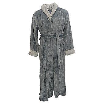 Carole Hochman Women's Textured Plush Wrap Robe Gray