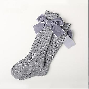Skarpety Grube Line Knitting Tube's Skarpety Ciepłe bawełny Moda Velvet Bow Ułożone