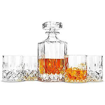 Wokex Whisky Karaffe und Glsern Set, 750 ml Dekanter mit 4 Bleifrei Kristall Glser 300 ml.