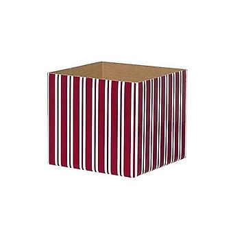 Posy Box White Mini Stripes Red White (13x12cmh)
