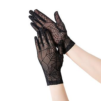 Lace Gloves Spider Night Sun Protection  Stretchy Gloves Black