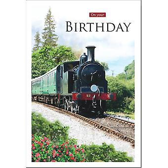 ICG Ltd Open Birthday Card Essence Range - Steam Train