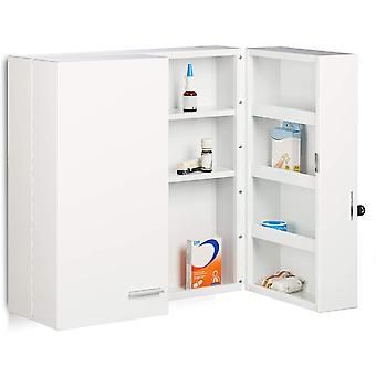XXL Medicine Cabinet, Premium Locking w/ 2 Doors, 11 Compartments, HxWxD: 53 x 53 x 20 cm, First Aid