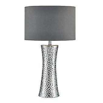 Table Lamp Silver with Round Drum Shade