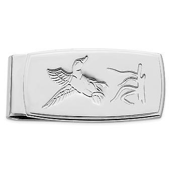 Solide getextureerde gegraveerde gepolijste en satijn rhodium vergulde vliegende eend scharnierend geld clip sieraden geschenken voor mannen