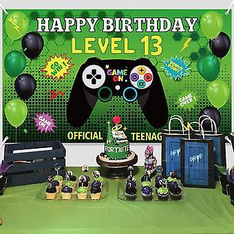 משחק וידאו יום הולדת שמח רקע באנר, מסיבה תפאורה אספקה, בקר יום