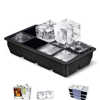 8 Grids Square Ice Cube Tray Mould Ice Cubes Silicone Mold DIY Ice Cream(22cm*11.5cm*5cm,Black)