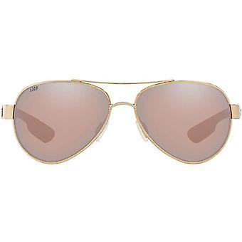 Costa Del Mar Womens Loreto Polarized Aviator Sunglasses - Rose Gold/Copper Silver Mirrored - 56 mm
