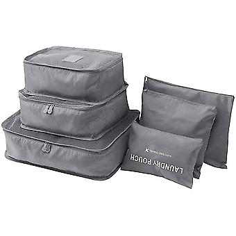 Grey 6 pcs travel storage bags waterproof clothes pcsing cube luggage organizer pouch cai351