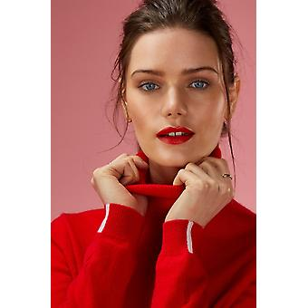 Loop Cashmere Polo Neck Sweater In Rouge