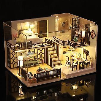 新しいDIYの木製のドールハウス中国の3d人形の家は、子供の大人の誕生日プレゼントのカサのための家具キット創造的なおもちゃでミニチュア