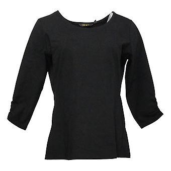 IMAN Global Chic Women's Top Contour Seamed 3/4 Sleeve Tee Black 722322