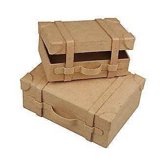 2 mini artisanal de papier mâché valises pour décorer | Papier mâché formes