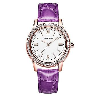1665JIAYUYAN Módní dámské quartz náramkové hodinky s PU koženým páskem a pouzdrem na hodinky ze slitiny (Purple)