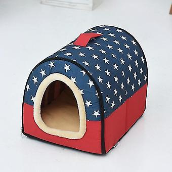 Hundezwinger abnehmbar & Waschbares Haustierbett Herbst Winter Haustierbedarf, Spezifikation: L (Blau