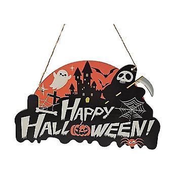 Halloween Kurpitsan oven roikkuva tervetuliaiskyltti - Hyvää Halloween-puista plakkilevyn sisustusta (väri4)