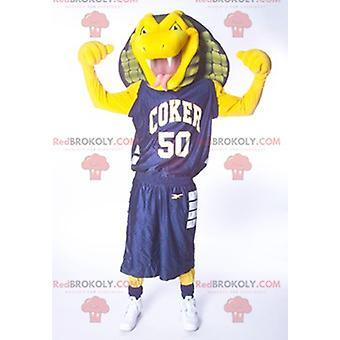 Mascotte REDBROKOLY.COM de serpent cobra jaune vert et bleu