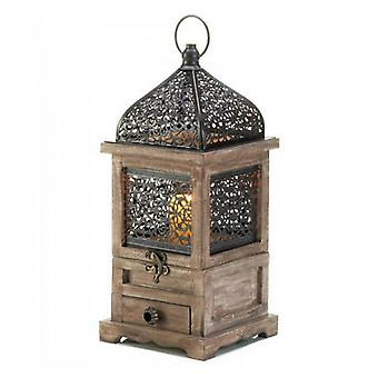 Gallery of Light Flip-Top Wood Lantern with Drawer - 14 inches, Pack of 1